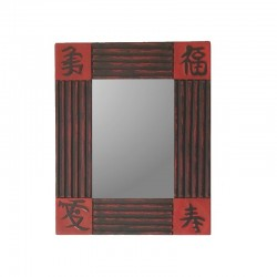 Mirror 26 cm red background with black design
