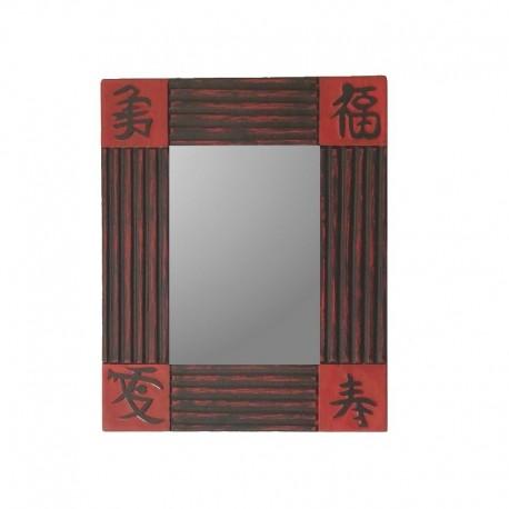Mirror 26 cm red background with black design