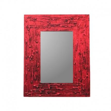 Miroir 25 cm rouge chiné