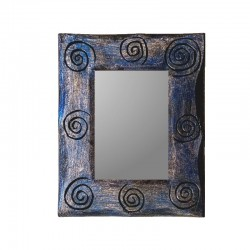 Blue and silvery mixed mirror 25 cm spiral design
