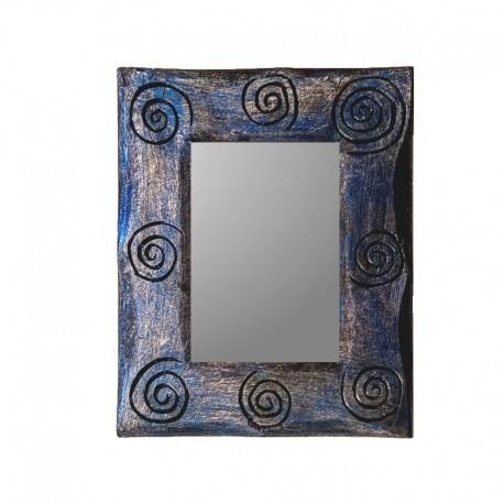 Miroir 25 cm bleu et argenté design spirale