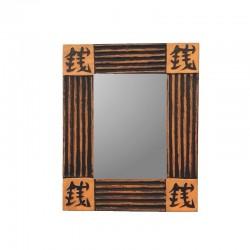 Miroir 26 cm fond crème design noir
