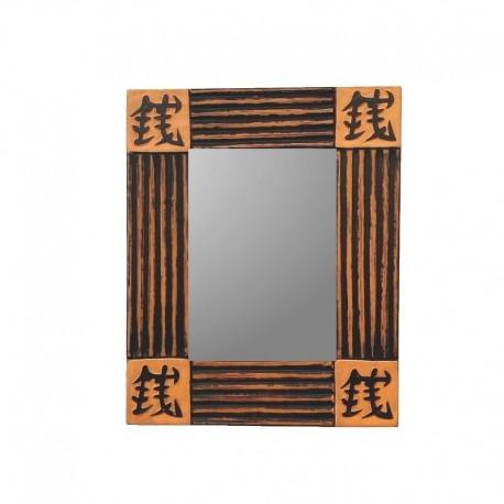 Mirror 26 cm cream background with black design