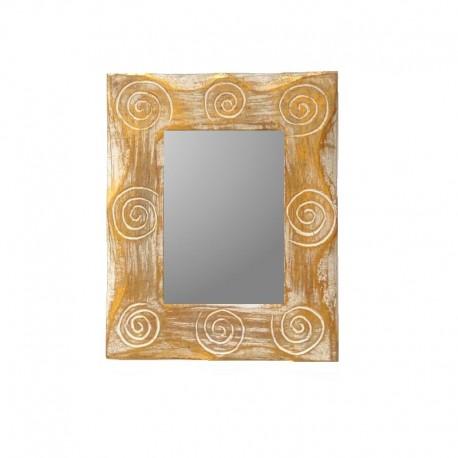 Miroir 25 cm blanc et doré design spirale