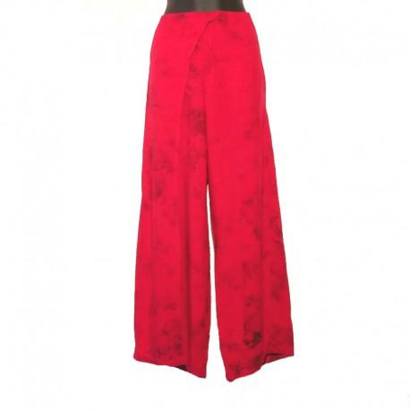 Pantalon large rayonne - Framboise