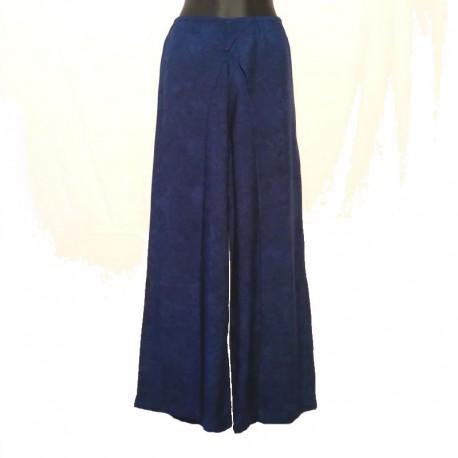 Pantalon large rayonne - Bleu