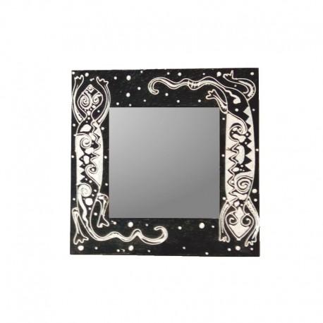 Mirror 24 cm black background with salamander design