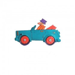 Barrette en résine voiture bleu