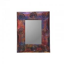 Miroir 25 cm doré, violet et rouge design spirale