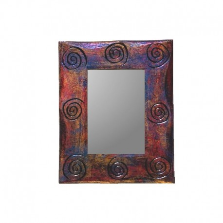 Gold, purple and red mixed mirror 25 cm spiral design