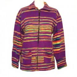 Gilet ethnique coton violet, jaune et rouge