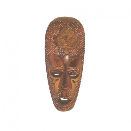 African mask H 30 cm in wood design Turtle