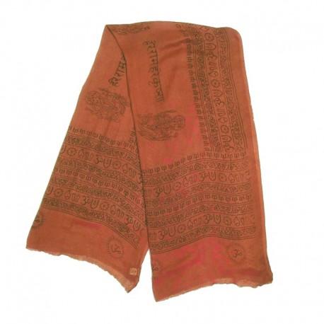 Echarpe coton Divinité indienne - Ganesh - Marron design noir