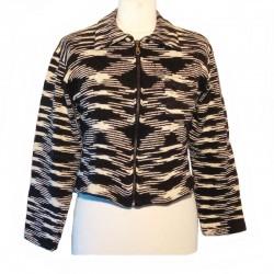 Gilet zippé coton noir et blanc
