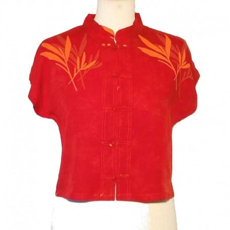 Rayon Mao collar top - Dark orange with light orange bamboo design