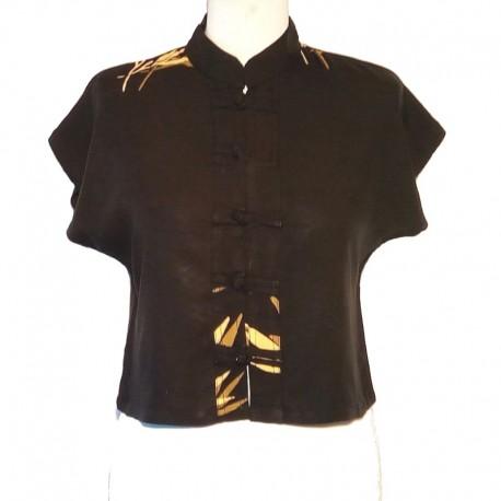 Top col Mao en rayonne - Noir design bambou marron clair