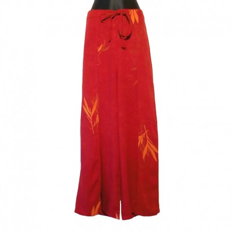 Thai wrap pants - Dark orange with design light orange Bamboo design