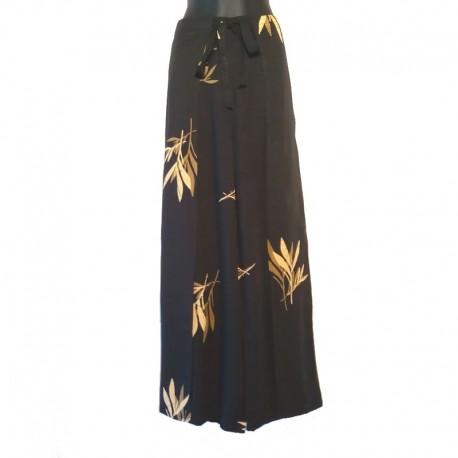 Pantalon portefeuille Thaï - Noir, design Bambou marron clair