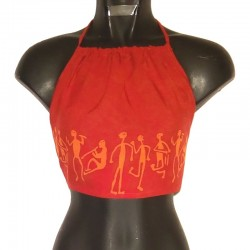 Rayon backless - Red with orange design