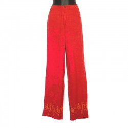 Pantalon droit en rayonne - Rouge design orange