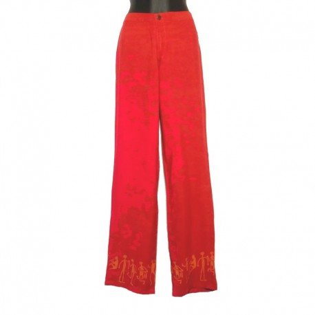 Straight pants in rayon - Red with orange design