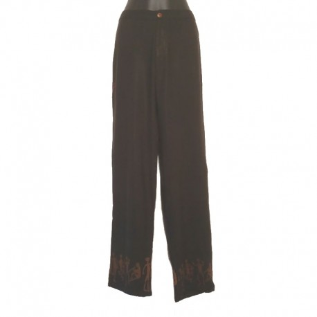Pantalon droit en rayonne - Noir design marron