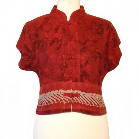 Mao collar top in rayon - Maroon with beige design
