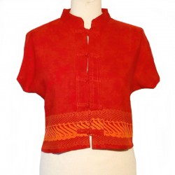 Top en rayonne col Mao - Rouille design orange