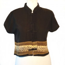 Mao collar top in rayon - Black with coffee colored and beigedesign
