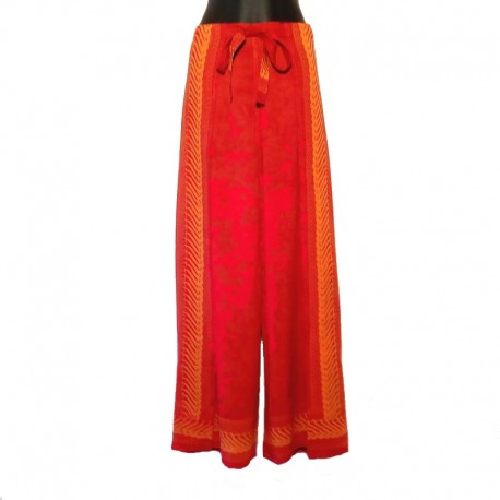 Thai wrap pants - Rusted colored with orange design