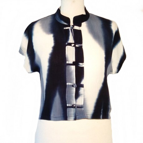 Rayon Tie and Dye Top - White and blue