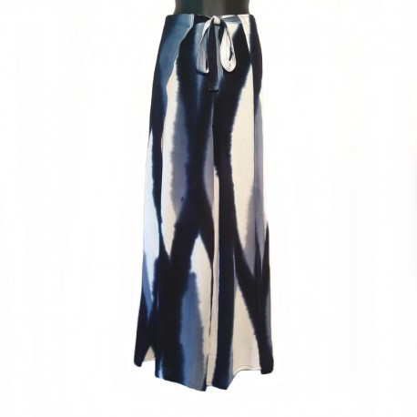 Tie and Dye wrap pants - White and blue