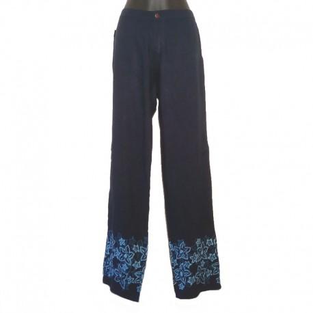 Pantalon droit design fleur - Bleu foncé design bleu clair