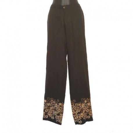 Pantalon droit design fleur - Noir design beige et café
