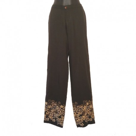 Straight pants flower design - Black with beige and coffee design