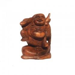 Bouddha rieur debout H20 cm en bois foncé