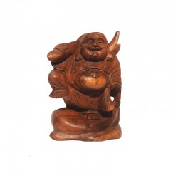 Dark wood laughing standing Buddha H20 cm