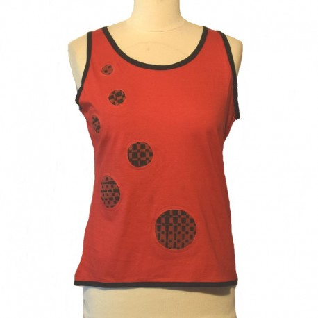 Cotton tank top bicolor - Red and black