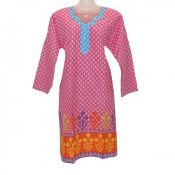 Cotton tunic size 18 us - Pink, white and light blue