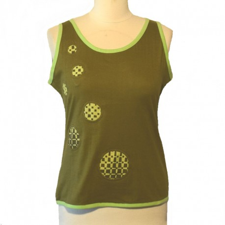 Cotton tank top bicolor - Green and anise