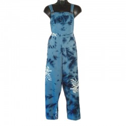 Blue oil overalls in rayon with design size XS
