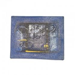 Peinture abstraite sur toile 25x20 cm - fond bleu