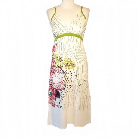 Indian long dress back smocked - Size L - White - Model 01