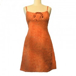 Rayon short dress size 40 - Orange with golden design