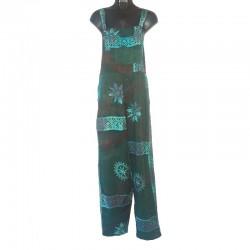 Salopette rayonne motifs taille S vert et bleu