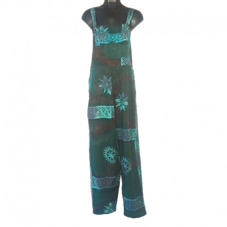 Green and light blue overalls in rayon with design size S