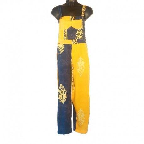 Yellow and blue overalls in rayon with design size XS