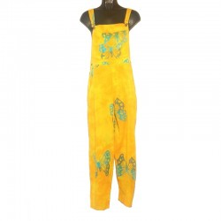 Yellow and light blue overalls in rayon with design size S