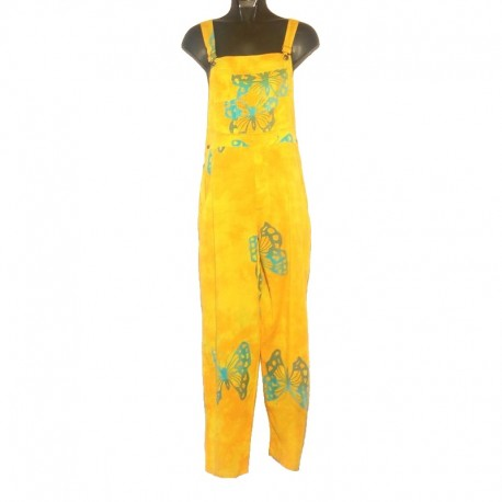 Salopette rayonne motifs taille S jaune design bleu clair