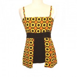 Rayon top size S - Orange, yellow and black